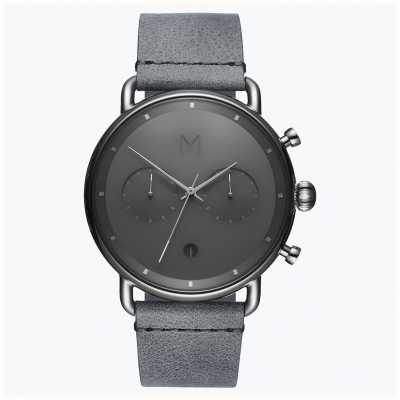 MVMT Blacktop Silver Mist | Grey Leather Strap | Grey Dial D-BT01-SGR