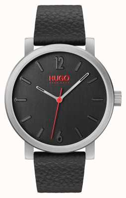 HUGO #Rase | black Leather Strap | Black Dial 1530115