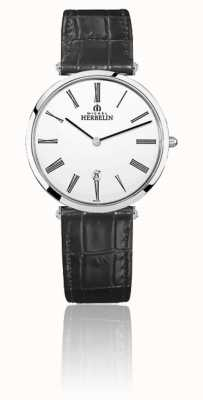 Michel Herbelin | Mens | Epsilon | Black Leather Strap | White Dial | 19406/01N