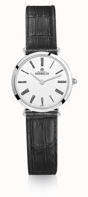 Michel Herbelin | Womens | Epsilon | Black Leather Strap | White Dial | 17106/01N