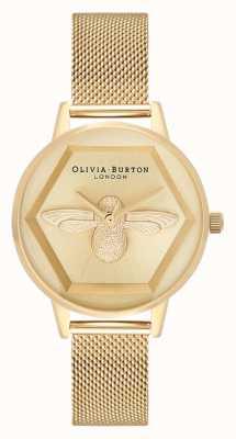 Olivia Burton | 3D Bee Charity Watch | Yellow Gold Mesh Bracelet | OB16AM169