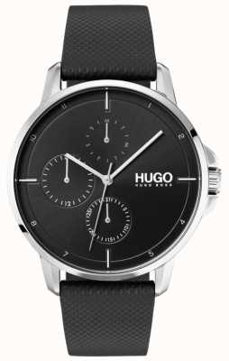 HUGO #focus | Black Leather Strap | Black Dial 1530022