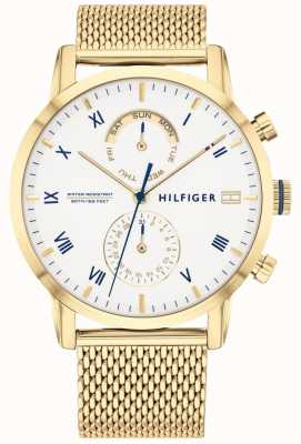 Tommy Hilfiger | Men's Gold Steel Mesh Bracelet | White Dial | 1710403
