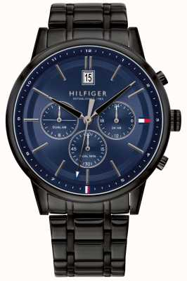 Tommy Hilfiger | Mens Black PVD Plated Bracelet | Blue Dial | 1791633