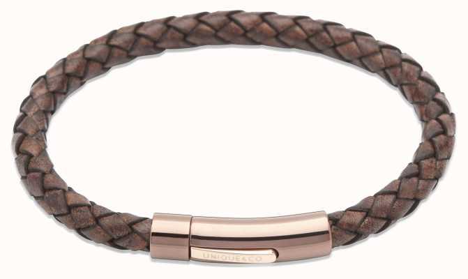 Unique & Co Antique Brown Leather | Steel Clasp | Bracelet B321ADB/21CM