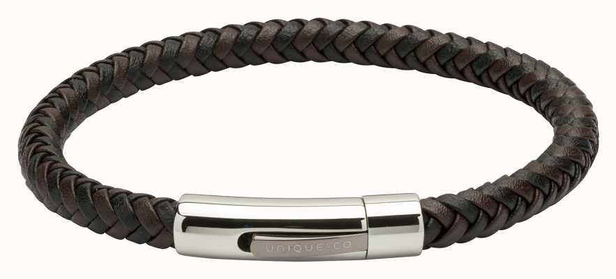 Unique & Co Brown Black Leather |Steel Clasp | Bracelet B371BD/21CM