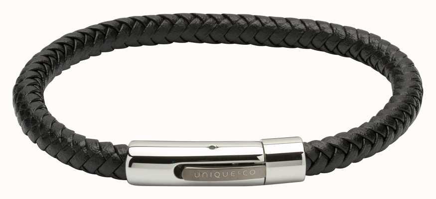 Unique & Co Black Leather |Steel Clasp | Bracelet B371BL/21CM