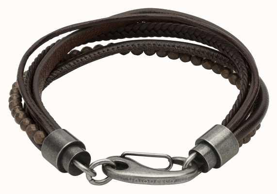 Unique & Co Dark Brown Leather | Matt Brown Hematite Beads |  Bracelet B387DB/21CM