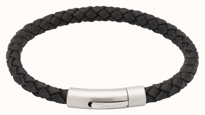 Unique & Co Black Leather | Steel Clasp | Bracelet B399BL/21CM