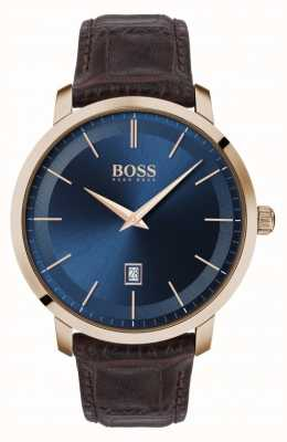 Boss | Men's Premium Classic |  Brown Leather Strap | Blue Dial | 1513745