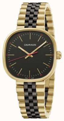 Calvin Klein   Men's   Squarely   Two-Tone Bracelet   Black Dial   K9Q125Z1