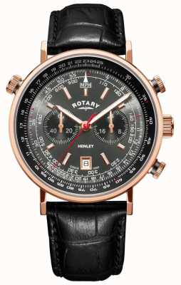 Rotary | Men's Henley Chronograph | Grey Dial | Black Leather | GS05237/20