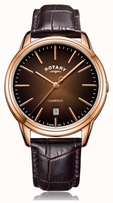 Rotary | Men's Cambridge | Rose Gold PVD Case | Brown Leather Strap GS05394/16