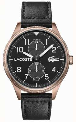 Lacoste | Men's Continental | Black Leather Strap | Black Dial | 2011042