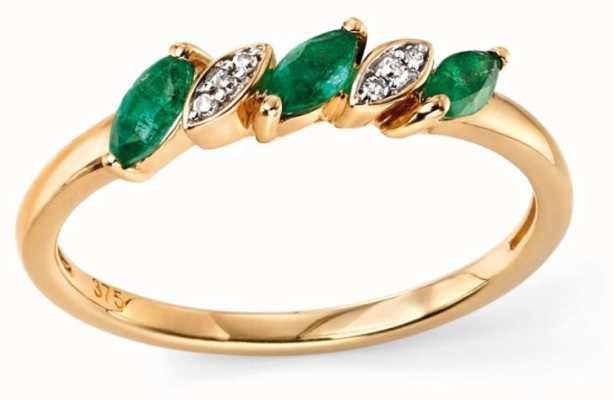 Elements Gold 9ct Y/g Emerald Diamond Marquise Ring GR501G