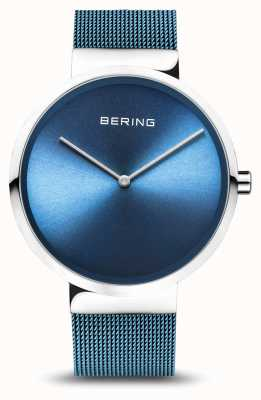 Bering | Classic | Polished/Brushed Silver | Blue Mesh Bracelet | 14539-308