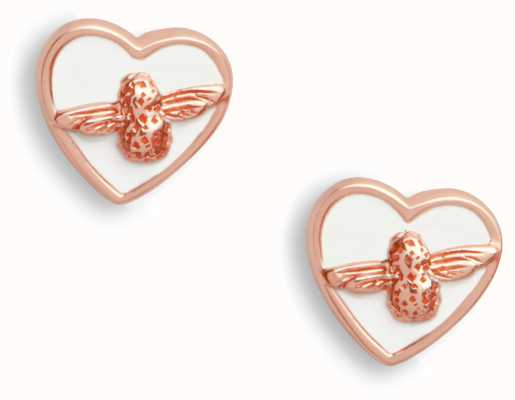 Olivia Burton   Love Bug   White And Rose Gold   Stud Earrings   OBJLHE25