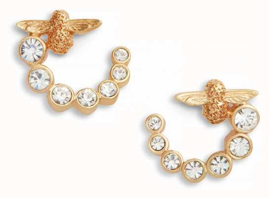 Olivia Burton   Bejewelled Bee Swirl Hoop   Gold Earrings   OBJAME161