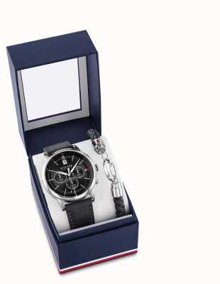 Tommy Hilfiger Men's Black Leather Watch And Bracelet Gift Set 2770058
