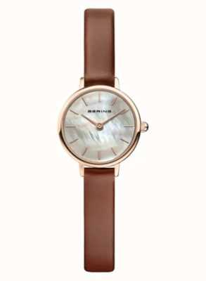 Bering | Women's Classic | Brown Leather Strap | Mother Of Pearl | 11022-564