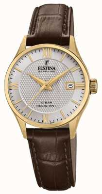 Festina | Women's Swiss Made | Brown Leather Strap | Silver Dial | F20011/2