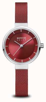 Bering Solar   Polished Silver   Red Mesh Bracelet   Red Dial   14627-303