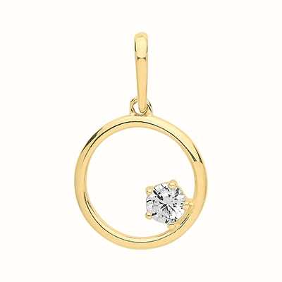 James Moore TH 9ct Yellow Gold  Circle And Cubic Zirconia Pendant Only PN1128