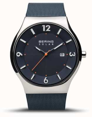 Bering | Men's | Slim Solar | Navy Blue | Mesh Bracelet | 14440-307