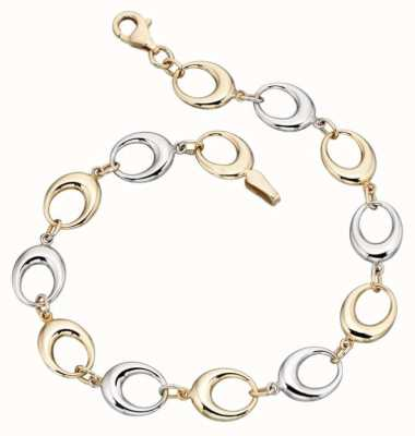 Elements Gold 9ct Yellow Gold /White Gold Oval Link Bracelet GB403