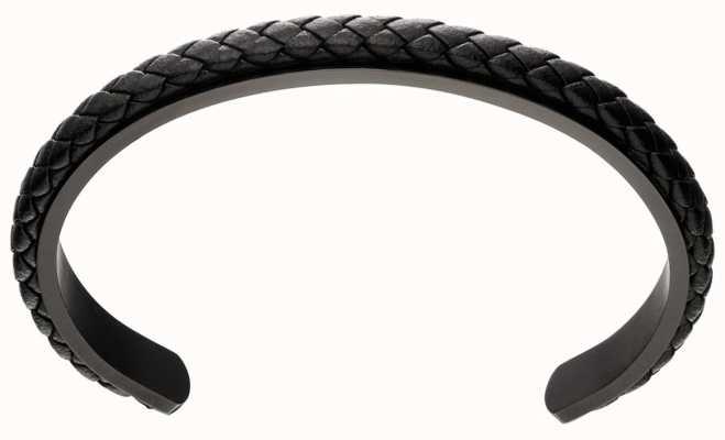 Fred Bennett Black Leather Plait Cuff Bangle B5112