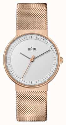 Braun Women's   Classic   Rose Gold PVD Mesh   White Dial BN0031RGMHL