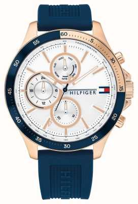 Tommy Hilfiger   Men's Bank   Blue Silicone Strap   White Dial 1791778