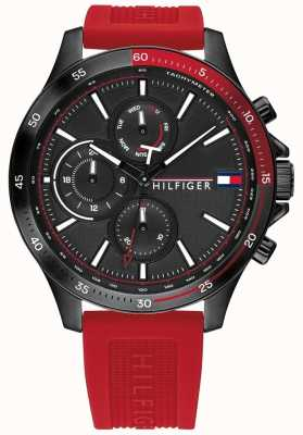 Tommy Hilfiger   Men's Bank   Red Silicone Strap   Black Dial   1791722
