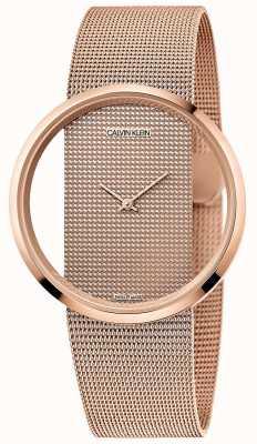 Calvin Klein | Glam | Rose Gold PVD Plated Mesh Bracelet | Rose Gold Dial K942362A