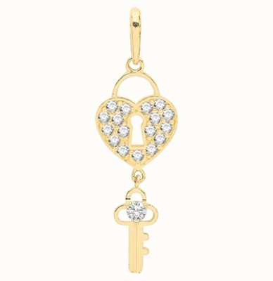James Moore TH 9ct Yellow Gold Cubic Zirconia Heart Lock And Key Pendant Only PN1126