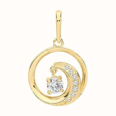 James Moore TH 9ct Yellow Gold Circle Swirl Cubic Zirconia Pendant Only PN1140