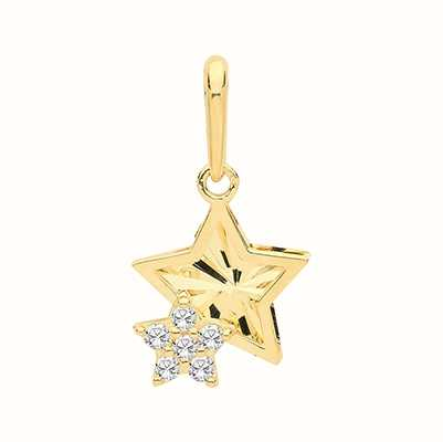 James Moore TH 9ct Yellow Gold Double Star Cubic Zirconia Pendant Only PN1142