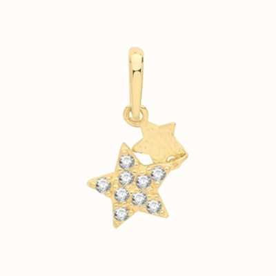 James Moore TH 9ct Yellow Gold Star Double Drop Pendant Only PN1144
