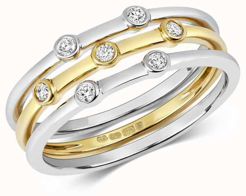 James Moore TH 9ct Gold White Gold X3 Diamond Stack Rings Size N RD199/N