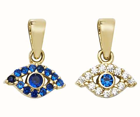 James Moore TH 9ct Yellow Gold Blue Stone Reversible Evil Eye Pendant Only PN198