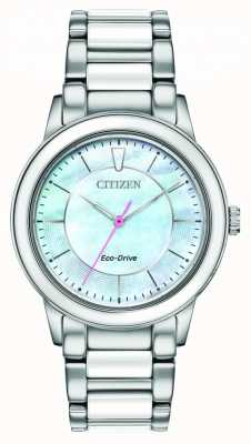 Citizen Ladies Ceramic Eco-Drive Mother-of-pearl Dial Watch EM0740-53D
