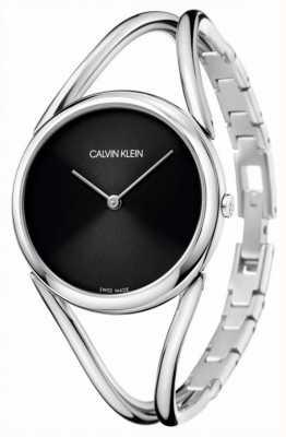 Calvin Klein Lady | Stainless Steel Bangle Bracelet | Black Dial KBA23121