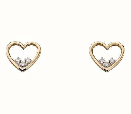 Elements Gold 9ct Yellow Gold 3 Stone Open Heart Diamond Stud Earrings GE2154