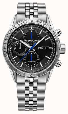 Raymond Weil Men's Freelancer | Automatic Chrono | Steel Bracelet | Black 7731-ST-20021