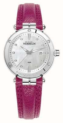 Michel Herbelin Newport Diamond Set Dial Fuschia Leather Strap 14288/AP89FU