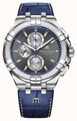 Maurice Lacroix Men's Aikon   Blue Leather Strap   Grey Dial AI1018-SS001-333-1
