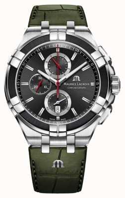 Maurice Lacroix Aikon Chronograph | Green Leather Strap | Black Dial AI1018-PVB21-330-1