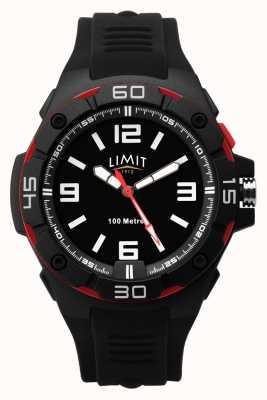 Limit | Men's Black Rubber Strap | Black Dial | Red/Black Bezel 5789.65