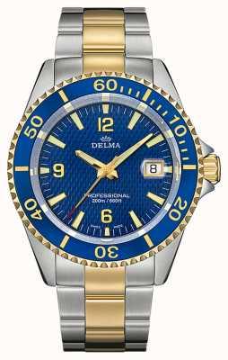 Delma Santiago Quartz | Two-Tone Steel Bracelet | Blue Bezel 52701.562.6.044