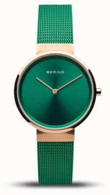Bering Women's Classic | Polished Rose Gold | Green Mesh Strap | 14531-868